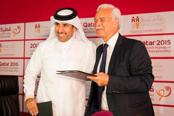 Marcio Barbosa and Dr. Thani Al-Kuwari, Secretary General of Qatar Olympic Committee, Educate a Child, Handball World Cup, Qatar.