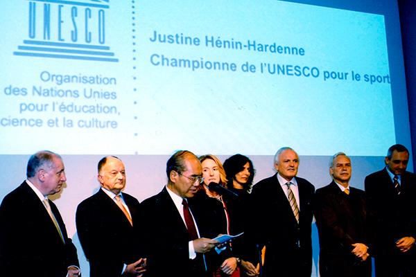 Marcio Barbosa, Koichirō Matsuura, Justine Hénin-Hardenne, UNESCO Sport Champion.