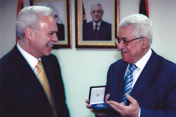 Marcio Barbosa, President Mahmoud Abbas, UNESCO Medal.