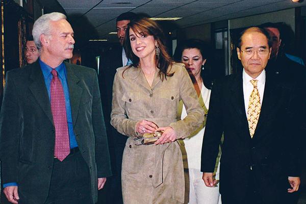 Marcio Barbosa, Koichirō Matsuura and Queen Rania of Jordan at UNESCO.