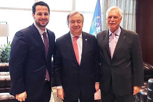 Marcio Barbosa and Alexandre Costa Barbosa with Antonio Guterres, United Nations (UN).